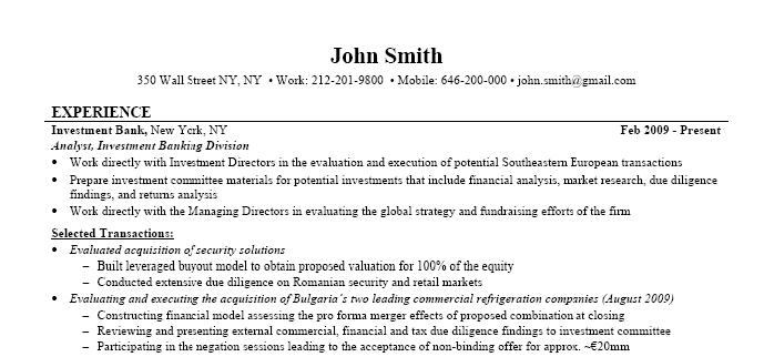 investment banking resume example - Bank Resume Samples