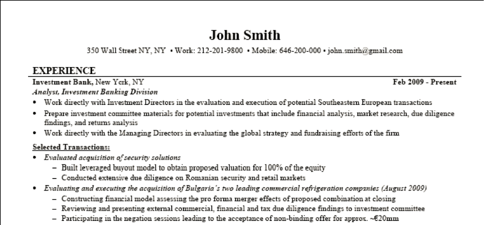 sample investment banking resume - Investment Banking Resume Template